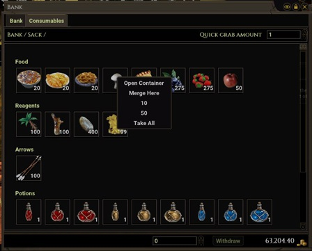 Consumables Bank Tab