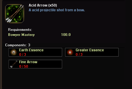 Acid arrows on the crafting window