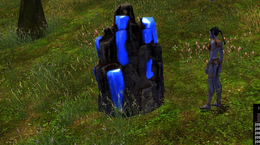 Ore vein with blue rocks and a player character standing next to it