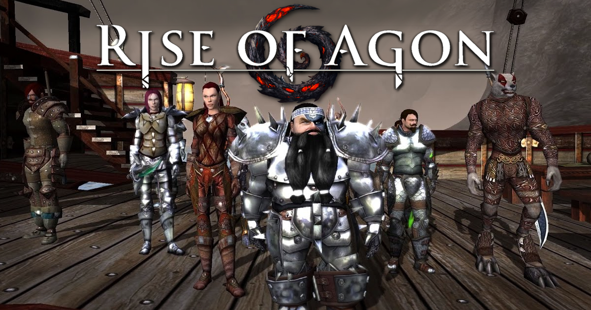 Various races of Agon standing on deck fully geared. Rise of Agon text and spiral logo on top of the image.