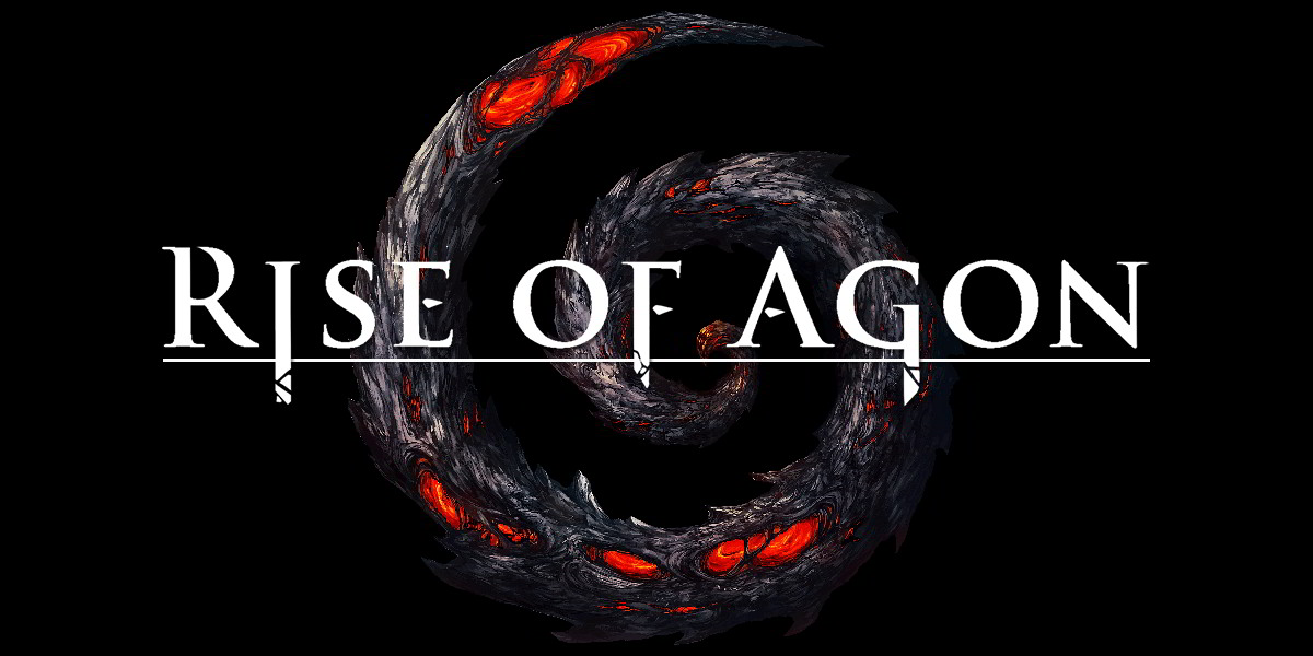 Spiral with Darkfall: Rise of Agon text on top of it